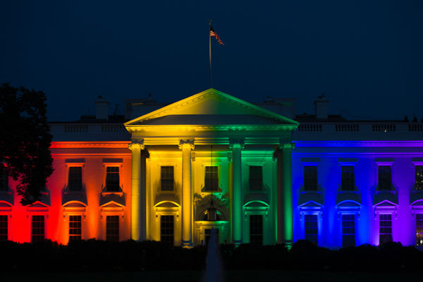 The White House, adorned with rainbow lighting to celebrate the U.S. Supreme Court ruling on June 26, 2015 to legalize same-sex marriage in all 50 states. Truly it is a sad day for Christians in America!